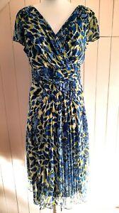 PER UNA blue lime cornflower RUCHED WAIST CROSSOVER V NECKLINE dress 18 46 NEW