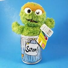 "10"" Oscar the Grouch Plush SCRAM in Garbage Can Sesame Street Gund TAGS 2003"
