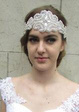 Silver Rhinestone Headpiece 1920s Flapper Headband Great Gatsby Bridal Vtg V25