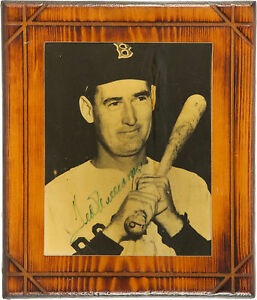 TED WILLIAMS SIGNED 8x10 PHOTO AFFIXED MOUNTED 11x13 WOOD PLAQUE BOSTON RED SOX