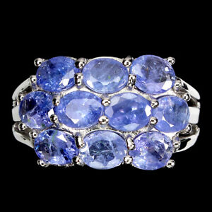 Unheated Oval Tanzanite 5x4mm 14K White Gold Plate 925 Sterling Silver Ring 9