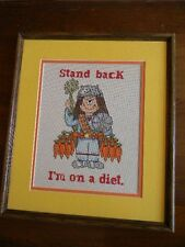 "Framed Cross Stitch ""CATHY"" Comic STAND BACK, I'M ON A DIET - New15x13 JCA"