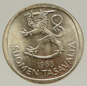1968 FINLAND Pine Trees VINTAGE OLD Lion & Shield Silver Markka Coin i93196