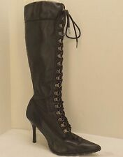 size 6-6.5 vtg 90s black leather COLIN STUART lace-up knee-high pointy-toe boots