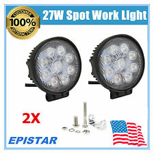 9-LED 2X 27W Round LED Spot Light Driving Working Fog Off-Road Lamp For Jeep Car