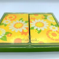 Vintage Hallmark 2 Pack Playing Cards flower power w Case complete