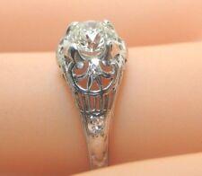 Antique Vintage Traub Deco Diamond Engagement 18K White Gold EGL USA Ring Size 6