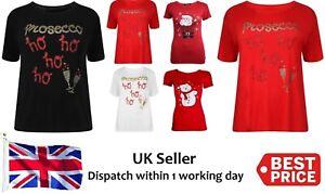 Womens Christmas Snow Man/Santa/Prosecco/Ho Ho Festive XMAS T-Shirt Ladies Top