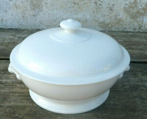 Vintage  1900 old French white ceramica soup tureen Soupiere Limoges France