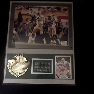 Brett Favre Signed Player To Win Three Consecutive Mvp Awards Plaque With COA