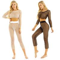 Women's Mesh Fishnet Bikini Cover Up Swimwear Beach Transparent Tops Long Pants