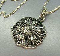 STERLING SILVER Vintage NECKLACE w/MARCASITE Open-Work LACE FILIGREE PENDANT