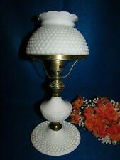 "VINTAGE WHITE MILK GLASS HOBNAIL GWTW HURRICANE TABLE LAMP 14"" TALL EUC"