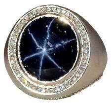14K White Gold Diamond Unheated Blue Star Sapphire Cabochon Mens Ring Size 11.75