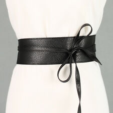 Wide Self Tie Womens Boho Dress Belt Wrap Soft Leather Waist Band