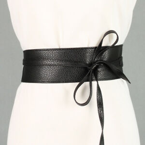 Soft Leather Women Ladies Wrap Around Tie Corset Cinch Waist Wide Dress Belt