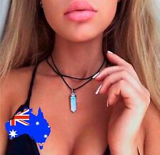 Opal Opalite Healing Crystal Quartz Point Choker Double Layer Chain Necklace