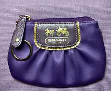 Coach Mini Amanda Keychain Coin Purse Purple Satin Leather Trim