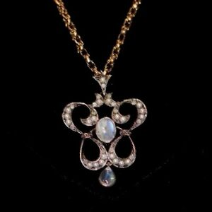 Moonstone seed pearl & diamond gold Art Nouveau necklace pendent on chain