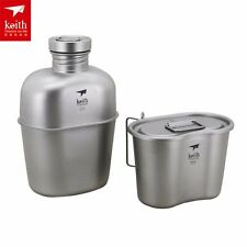 Keith Ti3060 Titanium Canteen Water Bottle Cup Camping tool Army Box&Bag