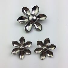 Vtg Daisy Flower Brooch Pin and Clip On Earrings Set Silver Tone Metal Figural