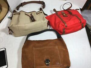 3 Dooney & Bourke Shoulder Bags ~Drawstring ~Hobo ~Red Tote Repair Rehab