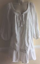 H & M Size 20 Broderie Anglaise White Tunic Summer Top Blouse