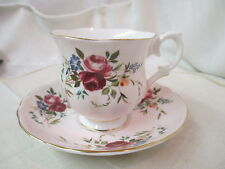Vintage England Crown Staffordshire bone china Cup & Saucer Roses Morning Glory