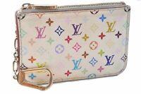 Auth Louis Vuitton Monogram Multicolor Pochette Cles White Coin Case LV A6070