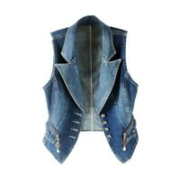 Ladies Denim Waistcoat Gilet Vest Jeans Fade Fitted Lapel Sleeveless Jacket Tops