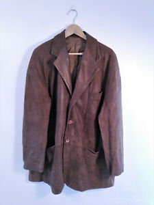 Men's Retro Brown Genuine Leather Long Overcoat Trench Coat Jacket | Size XL