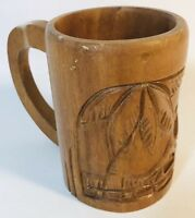 Vintage Solid Hand Carved Wooden Tiki Mug Tropical Palm Tree Beach Hut Volcano