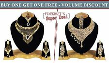 Gold Plated Party wear Zerconic Kundan Style Necklace Sets Volume Discount bg101