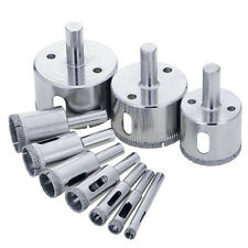 10Pcs Diamond Coated Core Hole Saw Drill Bits Set 6-50MM for Glass Marble Tile