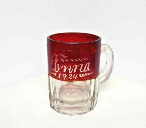 ANTIQUE MINI BEER MUG Anna 1924  Cranberry Clear Glass Gold Rim