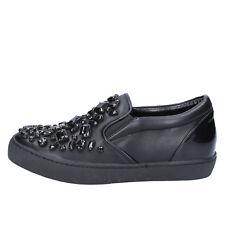 scarpe donna SARA LOPEZ 41 EU slip on nero pelle sintetica vernice BX706-41
