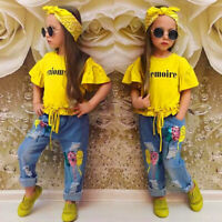 3PCS Kids Baby Girls Jeans Trouser Outfits T-shirt Tops+Denim Pant+Headband Set