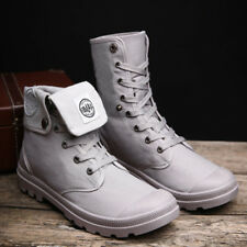 Men High Top Lace Up Martin Boot Breathable Anti-skid Canvas Work Shoes Gray 41