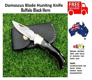 Handmade Black Horn Damascus Pattern Steel Pocket Knife Folding Hunting Camping