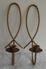 Home Interiors/Homco Twisted Wire Metal Goldtone Candleholders Sconces