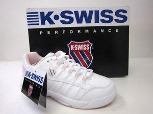 GIRLS K SWISS TRAINERS OPTIM OMNI 51065131 WHITE/ PALE PINK/ CHARCOAL