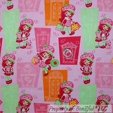BonEful FABRIC FQ Cotton Quilt PINK Girl Fashion Shop Doll Strawberry Shortcake