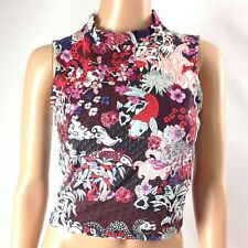 Monki F21 Womens Tank Top Cotton Blend Stretch Cropped Sleeveless Red Size S
