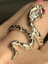 14k Snake Solid Real Gold Ring Manmad Diamond Ruby 7 5 6 8 9 10 4.2g