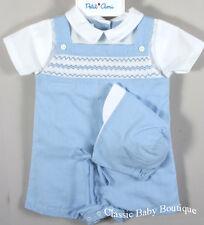 NWT Petit Ami Boys Blue Gingham Zig Zag Smocked Romper Hat Newborn Jon Jon Baby