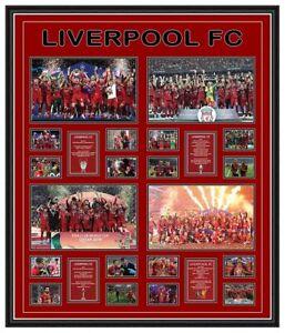 LIVERPOOL FC 2019/20 ALL 4 TROPHIES CHAMPIONS PREMIER LEAGUE FRAMED MEMORABILIA