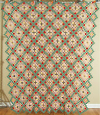 GORGEOUS 30's Yo Yo Hand Stitched Antique Quilt ~GREEN ACCENTS & SMALL PIECES!