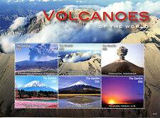 Gambia 2016 MNH Volcanoes of World 6v M/S Krakatoa Mount Fuji Landscapes Stamps