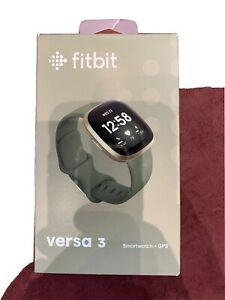 Fitbit Versa 3 Smartwatch+GPS Heart Rate Soft Gold Case Olive Green Brand New