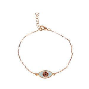 EYLAND 9CT Gold Plated Charm Bracelet All Seeing Eye Detail Swarovski Crystals